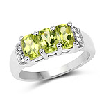 1.69 Carat Genuine Peridot and White Topaz .925 Sterling Silver Ring