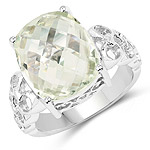 6.74 Carat Genuine Green Amethyst .925 Sterling Silver Ring