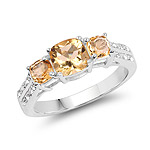 1.56 Carat Genuine Citrine and White Topaz .925 Sterling Silver Ring