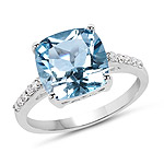 5.33 Carat Genuine Blue Topaz and White Topaz .925 Sterling Silver Ring