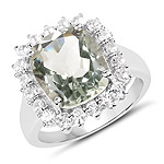 5.80 Carat Genuine Green Amethyst and White Topaz .925 Sterling Silver Ring