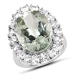 14.17 Carat Genuine Green Amethyst and White Topaz .925 Sterling Silver Ring
