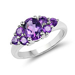 1.80 Carat Genuine Amethyst .925 Sterling Silver Ring