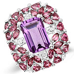 7.59 Carat Genuine Pink Amethyst, Rhodolite and White Topaz .925 Sterling Silver Ring