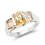 2.70 Carat Genuine Citrine .925 Sterling Silver Ring