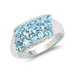 1.50 Carat Genuine Swiss Blue Topaz .925 Sterling Silver Ring