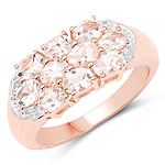 18K Rose Gold Plated 1.50 Carat Genuine Morganite .925 Sterling Silver Ring