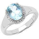 1.63 Carat Genuine Aquamarine & White Topaz .925 Sterling Silver Ring