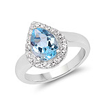 2.25 Carat Genuine Blue Topaz and White Topaz .925 Sterling Silver Ring