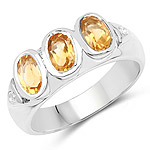 1.36 Carat Genuine Citrine and White Topaz .925 Sterling Silver Ring