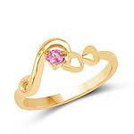 14K Yellow Gold Plated 0.10 Carat Genuine Ruby .925 Sterling Silver Ring