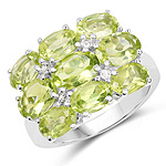 5.28 Carat Genuine Peridot and White Topaz .925 Sterling Silver Ring