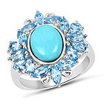 4.98 Carat Genuine Turquoise, Swiss Blue Topaz and White Topaz .925 Sterling Silver Ring
