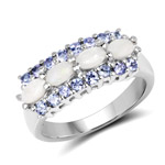 1.44 Carat Genuine Opal and Tanzanite .925 Sterling Silver Ring