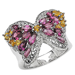 3.90 ct. t.w. Rhodolite and Citrine Ring in Sterling Silver