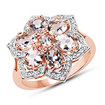 14K Rose Gold Plated 1.80 Carat Genuine Morganite and White Topaz .925 Sterling Silver Ring
