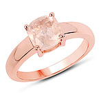 14K Rose Gold Plated 1.40 Carat Genuine Morganite .925 Sterling Silver Ring