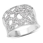 0.50 Carat Genuine White Diamond .925 Sterling Silver Ring