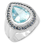 4.30 Carats Genuine Blue Topaz & Blue Sapphire .925 Sterling Silver Ring