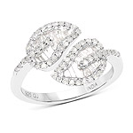 0.78 Carat Genuine White Diamond .925 Sterling Silver Ring