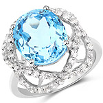 7.32 Carat Genuine Swiss Blue Topaz and White Topaz .925 Sterling Silver Ring
