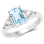 1.76 Carat Genuine Blue Topaz and White Topaz .925 Sterling Silver Ring