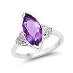 2.66 Carat Genuine Amethyst and White Topaz .925 Sterling Silver Ring