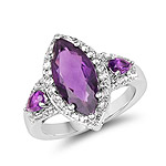 3.85 Carat Genuine Amethyst and White Topaz .925 Sterling Silver Ring
