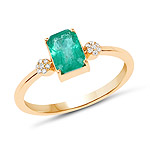 0.97 Carat Genuine Zambian Emerald and White Diamond 14K Yellow Gold Ring