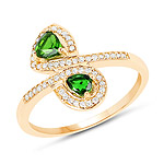 0.52 Carat Genuine Chrome Diopside and White Diamond 14K Yellow Gold Ring