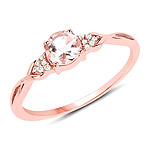0.45 Carat Genuine Morganite and White Diamond 14K Rose Gold Ring