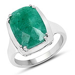 5.70 Carat Dyed Emerald .925 Sterling Silver Ring