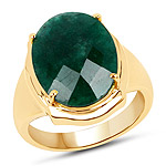 14K Yellow Gold Plated 7.80 Carat Dyed Emerald .925 Sterling Silver Ring