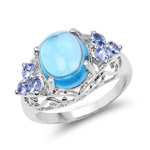 4.89 Carat Genuine Swiss Blue Topaz and Tanzanite .925 Sterling Silver Ring