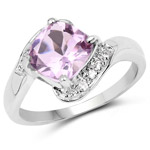 2.24 Carat Genuine Pink Amethyst and White Topaz .925 Sterling Silver Ring