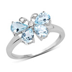 1.15 Carat Genuine Aquamarine and White Topaz .925 Sterling Silver Ring