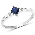 0.64 Carat Genuine Blue Sapphire and White Diamond 14K White Gold Ring