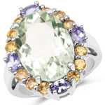 9.42 Carat Genuine Green Amethyst, Citrine and Tanzanite .925 Sterling Silver Ring