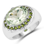 6.09 Carat Genuine Green Amethyst and Chrome Diopside .925 Sterling Silver Ring