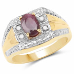 14K Yellow Gold Plated 1.03 Carat Genuine Ruby and White Diamond .925 Sterling Silver Ring