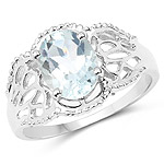 1.50 Carat Genuine Aquamarine .925 Sterling Silver Ring