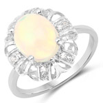 1.73 Carat Genuine Ethiopian Opal and White Topaz .925 Sterling Silver Ring