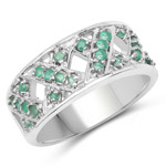 0.60 Carat Genuine Emerald .925 Sterling Silver Ring