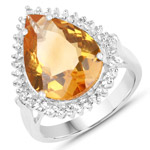 8.56 Carat Genuine Citrine and White Topaz .925 Sterling Silver Ring