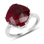 8.20 Carat Dyed Ruby .925 Sterling Silver Ring