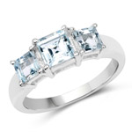 1.40 Carat Genuine Aquamarine .925 Sterling Silver Ring