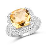 7.95 Carat Genuine Citrine and White Topaz .925 Sterling Silver Ring