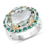 Two Tone Plated 8.86 Carat Genuine Green Amethyst and Emerald .925 Sterling Silver Ring