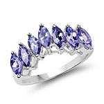 1.68 Carat Genuine Tanzanite .925 Sterling Silver Ring