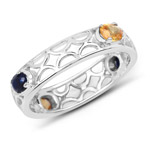 0.88 Carat Genuine Blue Sapphire and Yellow Sapphire .925 Sterling Silver Ring